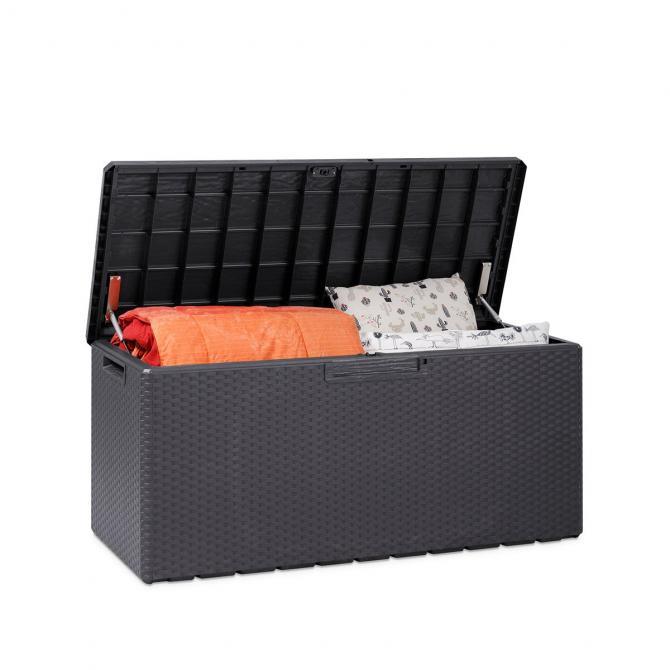 ONDIS24 Kissenbox Sitztruhe Fino anthrazit