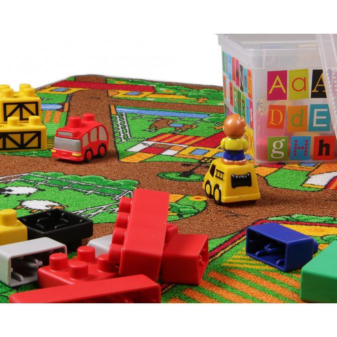 ONDIS24 Kinder Spielteppich Straße Bauernhof