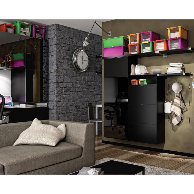 ONDIS24 Aufbewahrungsbox Klipp Box XS schwarz rot
