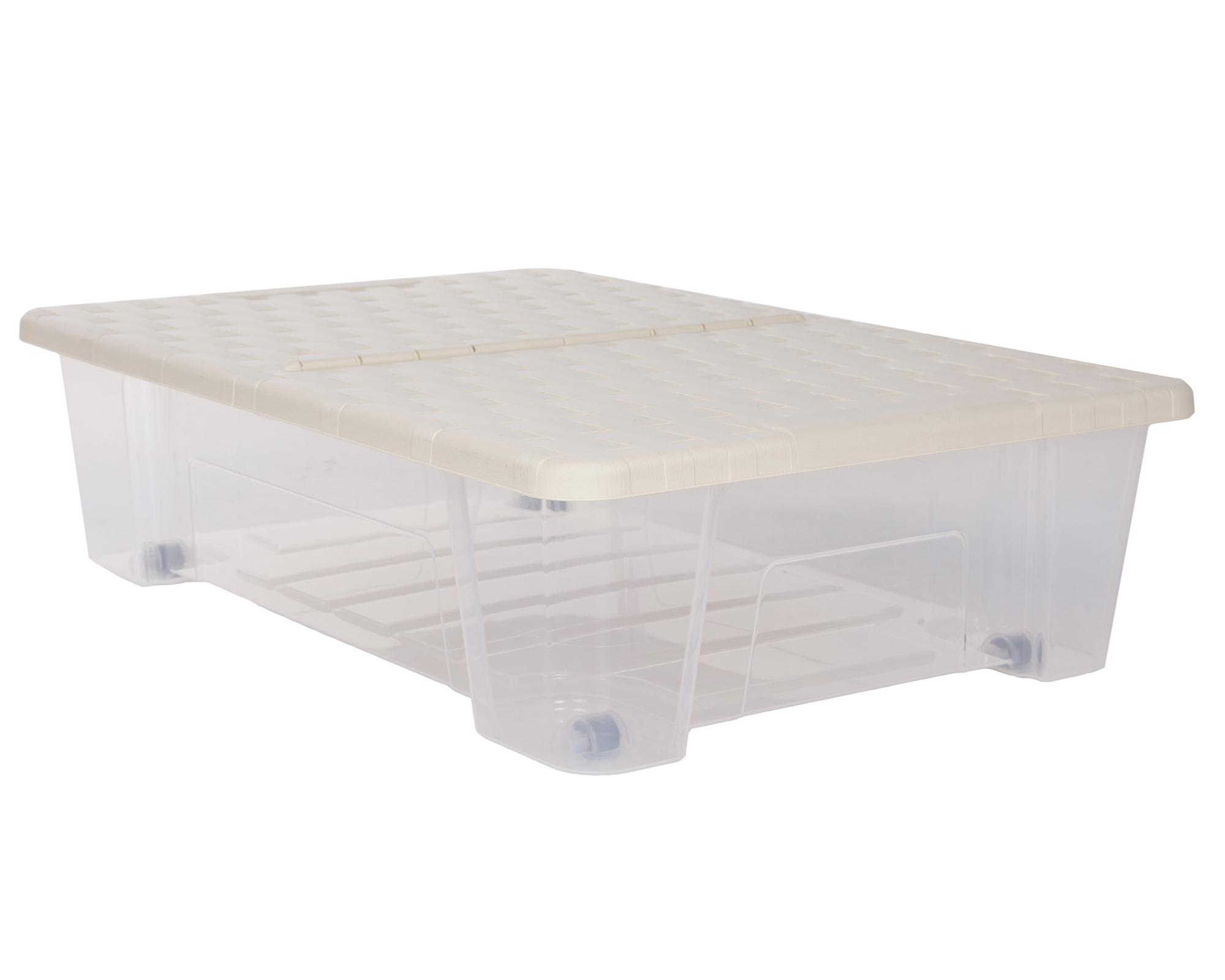 unterbettkommode allzweckbox rollerbox unterbettbox 25l rattan beige transparent ebay. Black Bedroom Furniture Sets. Home Design Ideas