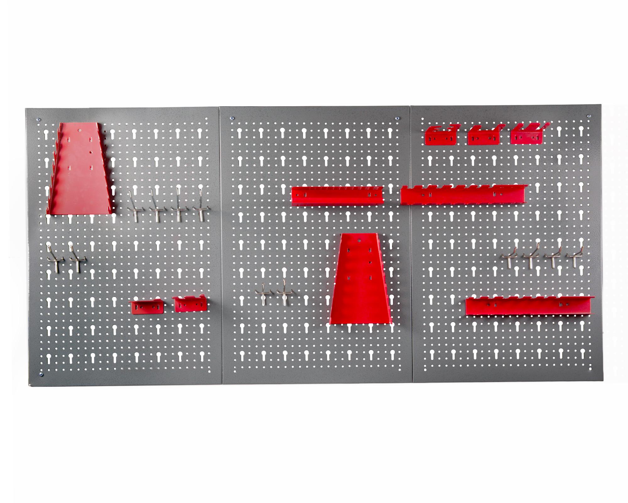 ondis24.com | Werkzeugwand Lochwand mit Hakensortiment aus Metall, rot