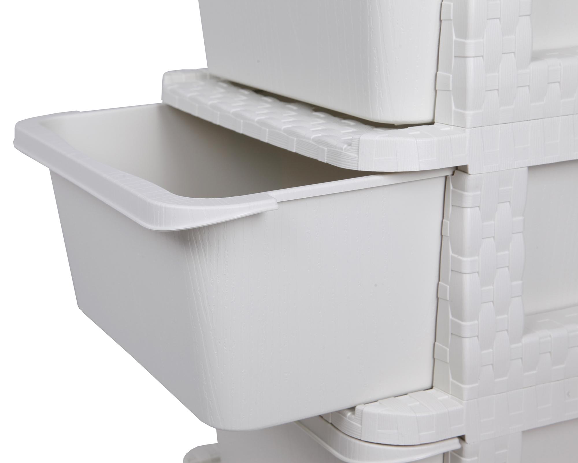 ondis24 schubladenschrank rattan tower 5 schubl den wei. Black Bedroom Furniture Sets. Home Design Ideas