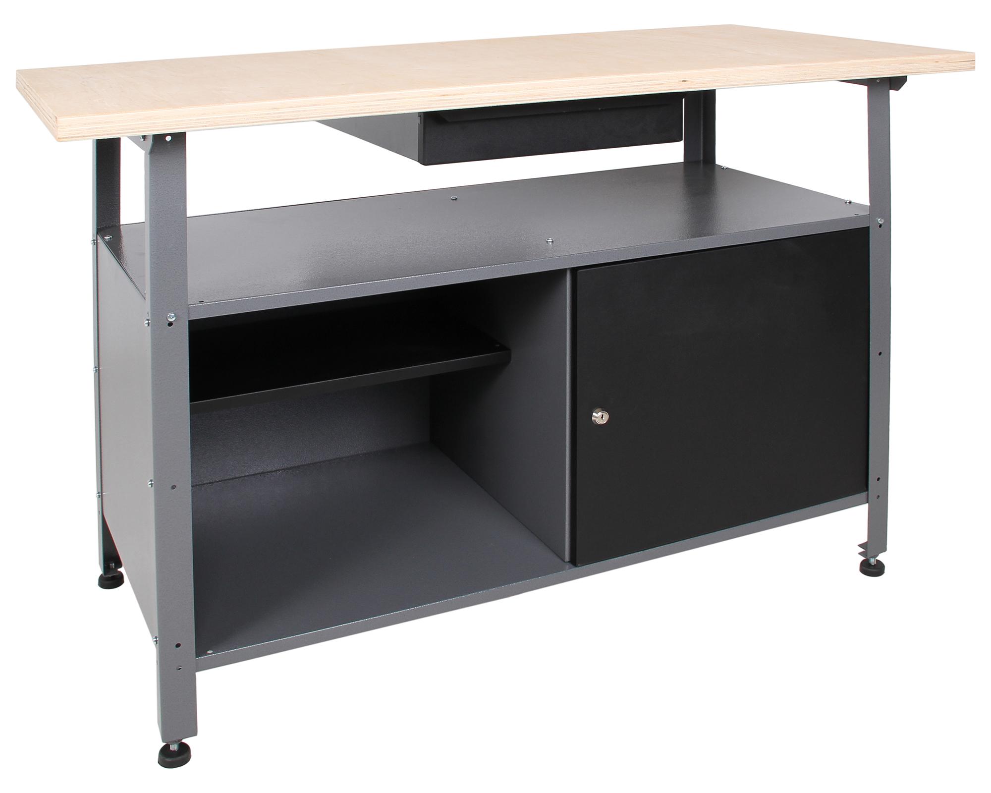 ondis24 werkbank 120 cm t r mit schloss schublade front grau jetzt g nstig kaufen. Black Bedroom Furniture Sets. Home Design Ideas