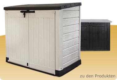 gartenboxen m lltonnenboxen kunststoffschr nke werkstatteinrichtung werkb nke werzeugschr nke. Black Bedroom Furniture Sets. Home Design Ideas